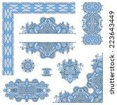 set of blue colour paisley... | Shutterstock .eps vector #223643449