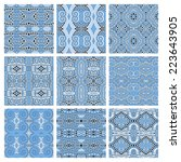 set of different seamless blue...   Shutterstock .eps vector #223643905