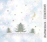 merry christmas landscape. | Shutterstock . vector #223653445