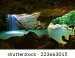 The Natural Bridge Waterfall A...