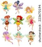 illustration of many fairies... | Shutterstock .eps vector #223670194