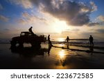 a group of fishermen on duty on ... | Shutterstock . vector #223672585
