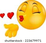 cartoon smiley emoticon making... | Shutterstock .eps vector #223679971