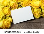 frame with yellow roses on old... | Shutterstock . vector #223681639
