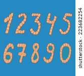 set of isolated digits of... | Shutterstock .eps vector #223682254