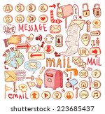 e mail doodle set. hand drawn...   Shutterstock .eps vector #223685437