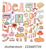 idea and finance icons doodle... | Shutterstock .eps vector #223685734