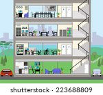 cutaway office building with... | Shutterstock .eps vector #223688809