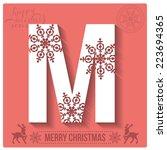 christmas stylized alphabet... | Shutterstock .eps vector #223694365