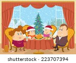 happy family  father  mother ... | Shutterstock .eps vector #223707394