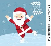 christmas postcard with funny... | Shutterstock .eps vector #223707481