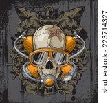 dead diver | Shutterstock .eps vector #223714327