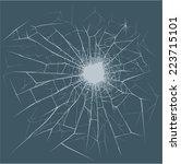 bullet hole on the glass | Shutterstock .eps vector #223715101