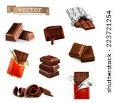 chocolate bars and pieces ... | Shutterstock .eps vector #223721254