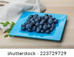 blueberry with leaves isolated... | Shutterstock . vector #223729729