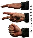 """Hands Forming """"paper  Scissors  ..."""