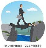 businessman is walking over the ...   Shutterstock .eps vector #223745659