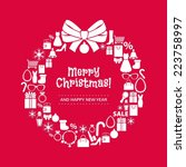 christmas wreath collected of... | Shutterstock .eps vector #223758997