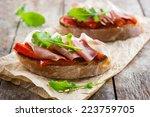 bruschetta with roasted peppers ... | Shutterstock . vector #223759705