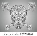 human skull made of flowers ... | Shutterstock .eps vector #223760764
