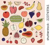 fruit hand drawn vector pattern | Shutterstock .eps vector #223765561