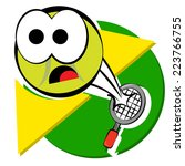cartoon tennis ball being hit... | Shutterstock .eps vector #223766755