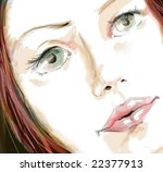 girl portrait closeup    hand... | Shutterstock . vector #22377913