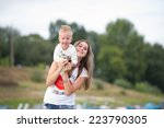mother with the little son walk ... | Shutterstock . vector #223790305