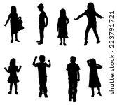 vector silhouette of a children ... | Shutterstock .eps vector #223791721