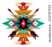 aztec ethnic print background | Shutterstock .eps vector #223797925