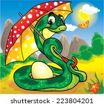 snake with an egg under the... | Shutterstock . vector #223804201
