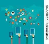 flat design concept for social... | Shutterstock .eps vector #223809901
