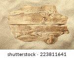 Sand Frame On Planked Wood....