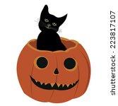 halloween pumpkin  and cat | Shutterstock .eps vector #223817107
