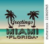 miami design over beachscape... | Shutterstock .eps vector #223820965