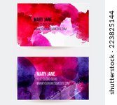 Set of two creative business card templates with artistic vector design. Abstract pink and violet watercolor splashes with grunge texture.