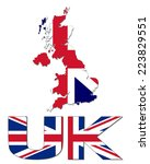 uk map flag and text vector... | Shutterstock .eps vector #223829551