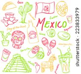 mexico doodle icons set | Shutterstock .eps vector #223833979