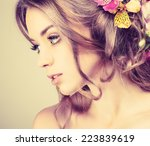 beautiful girl  isolated on a... | Shutterstock . vector #223839619