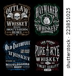 Vintage Whiskey Label T-shirt Graphic Set  | Shutterstock vector #223851025