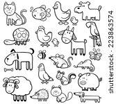 Stock vector vector illustration of cartoon animals coloring book 223863574