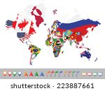world map with flag on white... | Shutterstock .eps vector #223887661