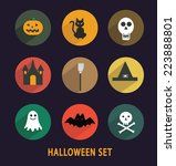 halloween icons set. vector... | Shutterstock .eps vector #223888801