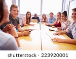 group of college students... | Shutterstock . vector #223920001