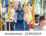 interior of bus with passengers   Shutterstock . vector #223926019