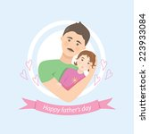 cute card on father's day.... | Shutterstock .eps vector #223933084