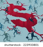 abstract businessmen run from a ... | Shutterstock .eps vector #223933801