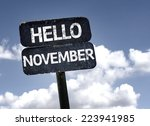 Hello November Sign With Cloud...