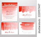 set of wedding invitation with... | Shutterstock .eps vector #223957447