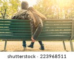 couple on a bench   two lovers... | Shutterstock . vector #223968511